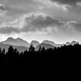 Profile of mountains in black and white Royalty Free Stock Image