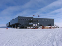 Profile of New South Pole Station. The New South Pole Station is the third station to be located at the South Pole.  In 2009 it officially replaced The Dome Royalty Free Stock Image