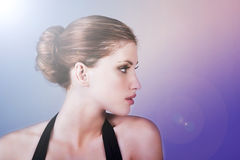 Profile Of A Beautiful Young Woman Royalty Free Stock Images
