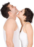 Profile Of A Smiling Young Couple Royalty Free Stock Image
