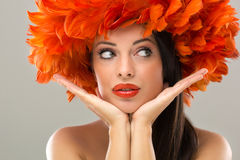 Profile Of Creativity Hairstyle And Fashion Make-u Royalty Free Stock Images
