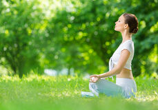 Profile Of Sportive Woman In Lotus Position Zen Gesturing Royalty Free Stock Images
