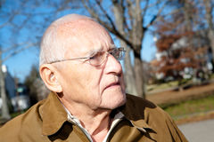 Profile of an Old Man. Close up portrait of old man with glasses. The image orientation is horizontal and there is copy space Stock Photography