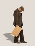 Profile of Old Man Holding Sign royalty free stock images