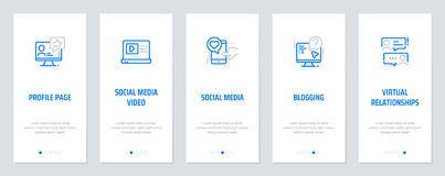 Profile page, Social media video, Social media, Blogging, Virtual relationships Vertical Cards with strong metaphors. Template for website design Royalty Free Stock Photography