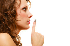 Profile part of face woman with silence sign gesture isolated Royalty Free Stock Images