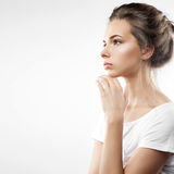 Profile of a pensive girl Royalty Free Stock Images