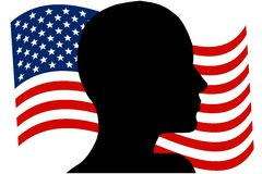 Profile of Person's Head American Flag Stock Photography