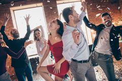 Free Profile Photo Of Group Friends Dance Floor Spending X-mas Party Together Couple Dancing Back-to-back Excited Favorite Royalty Free Stock Photography - 163392647