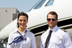 Profile of Pilot and stewardess Royalty Free Stock Photos