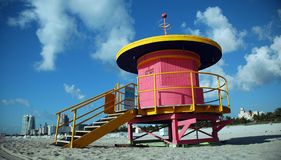 Profile of Pink Lifeguard Tower in South Beach Stock Photos