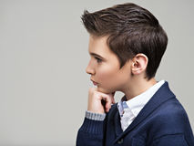 Profile portrait of a Beautiful teenage boy Royalty Free Stock Photography