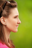 Profile portrait of beautiful young Stock Photo
