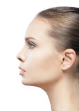 Profile portrait of beautiful young woman royalty free stock photo