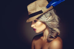 Profile portrait of beauty woman with grey hair color and nice m Stock Photography