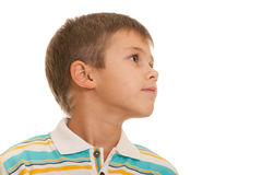 Profile portrait of a blond kid Royalty Free Stock Image