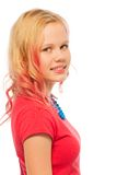 Profile portrait of blond smiling girl isolated Stock Image
