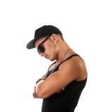 Profile portrait of caucasian male in hat and sunglasses Stock Photo