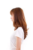 Profile portrait of confident woman, white isolated. Background Royalty Free Stock Photos