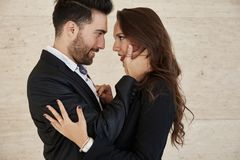 Elegant couple embracing looking at each other Royalty Free Stock Images