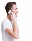 Profile portrait of  happy man calling by mobile. Stock Photos