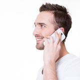 Profile portrait of  happy man calling by mobile. Stock Photo