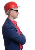 Profile portrait of man wearing construction helmet Stock Photography