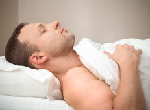Profile Portrait of pleased sleeping Caucasian man Royalty Free Stock Photos