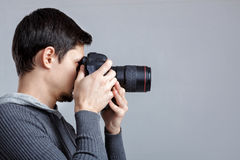Profile portrait of successful professional photographer use Royalty Free Stock Photos