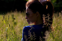 Profile portrait with sunglasses, outdoor Royalty Free Stock Images