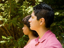 Profile portrait - teen couple Royalty Free Stock Images