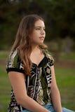 Profile portrait of teen girl of 15 Stock Photos
