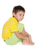 Profile portrait of a thoughtful boy Royalty Free Stock Images