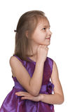 Profile portrait of a thoughtful little girl Stock Image