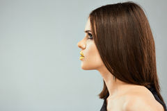 Profile portrait woman model with straight hair. Royalty Free Stock Image