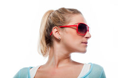 Profile portrait of a woman in sunglasses Royalty Free Stock Photo