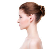 Profile portrait of young beautiful woman. Royalty Free Stock Photos
