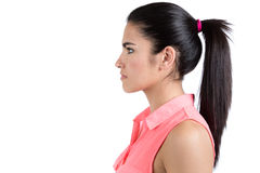 Profile portrait of young cute woman Royalty Free Stock Images