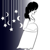 Profile of pregnant woman and silhouette of toys. Black and white Royalty Free Stock Photos