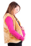 Profile of pregnant woman wearing in vest Stock Photography