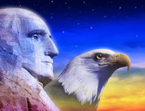 Profile of President George Washington and American eagle Stock Photography