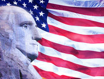 Profile of President George Washington and American flag Royalty Free Stock Photos