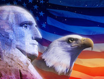 Profile of President George Washington, the American flag and American eagle Royalty Free Stock Photography