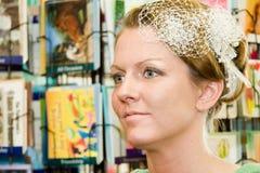 Profile Pretty Bride Before Wedding Stock Photo