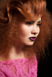 Profile of pretty young female with red hair Stock Images