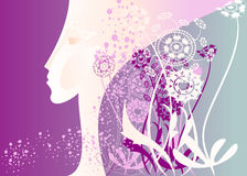 Profile purple. It is a stylized portrait of a girl's profile in the gothic headdress Stock Images
