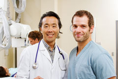 Profile of radiologist and technician Stock Photos