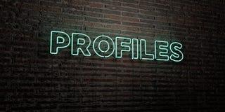PROFILE - Realistyczny Neonowy znak na ściana z cegieł tle - 3D odpłacający się królewskość bezpłatny akcyjny wizerunek Zdjęcie Royalty Free