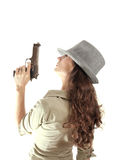 Profile retro mafia girl isolated Stock Photo