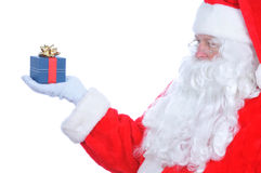Profile of Santa Claus with Present Stock Photo